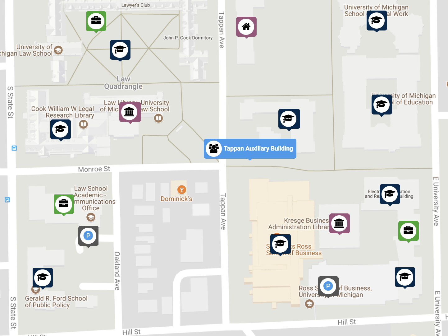 tappan ave on maps.studentlife.umich.edu