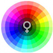 Female symbol surrounded by a rainbow circle