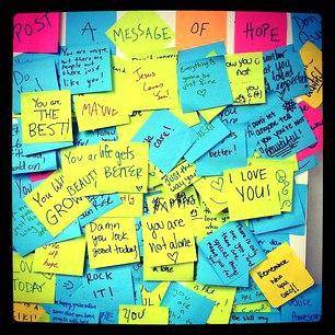 sticky notes with messages