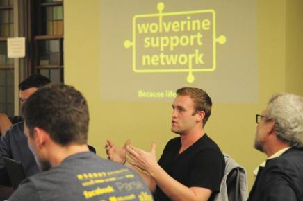 Student talking at Wolverine Support event